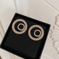 Tener Sello Moda Pendientes de perlas Redondas Aretes Orecchini Para Mujeres Partido Amantes de la boda Regalo Joyería Compromiso con Caja