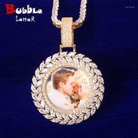 Collares colgantes Collar de memoria redonda sólida Micro Pave Charm Hombre Hip Hop Rock Jewelry1