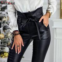 Instahot Altın Siyah Kemer Yüksek Bel Kalem Pantolon Kadınlar Faux Deri PU Sashes Uzun Pantolon Rahat Seksi Özel Tasarım Moda 201111