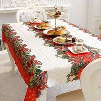 150x180см прямоугольник мультфильм шаблон рождественской скатерти Крышка Scalloped Edge Party рождественские текстильные LJ201223