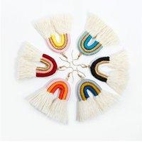 Bohemian Rainbow Tassel Pendientes Tejido Cuerda Tassel Pendientes Pendientes Araña Ear Puño Para Mujeres Joyería De Moda