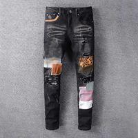 رجل جينز جديد أزياء رجالي مصمم جينز مصمم أسود أزرق جينز ضيق مكسورة مرونة ضئيلة القفزات الرجال السراويل
