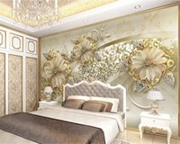 Luxo 3d Wallpaper ouro 3D tridimensional Europeia Background Pattern Jewelry TV Wall Silk Mural Wallpaper