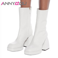 Bottes Annymoli Femme Square-Toe Mid-mollet Zipper Extreme High High Talle Plate-forme Bloc Chaussures Chaussures Dames Automne Blanc 43