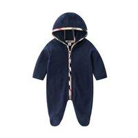 Ins хлопок с длинным рукавом младенца ребёнок мальчики комбинезоны с капюшоном новорожденных младенческих комбинезон малыша одежда ряд одежды le142