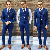 Costume Homme Custom Made Royal Blue Men Suit Treje de Hombre Casual Slim Uomini Abiti da uomo (Giacca + Pantaloni + Vest) 1