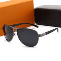 Üst Tasarımcı Metal Gözlüğü Güneş Gözlüğü Moda Bayan Aviator Milyoner Erkek Güneş Gözlüğü UV400 Lens Iş Tarzı Gözlük Kutusu Ile