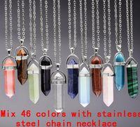 Joyería de los cristales collar barato de curación amatista Collares de cuero de bolas de cuarzo rosa Chakra Healing Point hombres de las mujeres de piedra colgantes naturales