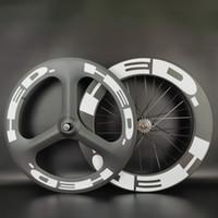 HED 700C عجلات الكربون الجبهة TRI-تكلم الخلفي 88MM العمق الطريق / المسار الدراجة الفاصلة / أنبوبي 3-تكلم الثابت والعتاد العجلات والعجلات الثابتة مع النهاية غير لامع