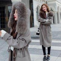 Rebicoo versão coreana novo inverno longo casaco mulheres cashmere quente tamanho grande mulheres elegantes casaco de lã