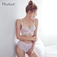 Munllure Free et élégant Coton ultra-mince confortable Soft Gauze Dentelle Sous-vêtements Femmes Bra Set Y200415