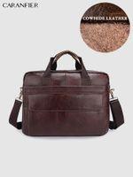 Briefcases CARANFIER Mens Briefcase Top Genuine Leather Messenger Bags Business Shoulder Crossbody Laptop Handbags Vintage Classic Bag