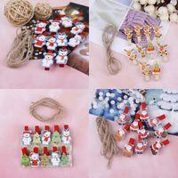 Dosyalama Malzemeleri 10 Adet / takım Kırmızı Noel Noel Baba Ahşap Klipler Mini Ahşap Giysileri Po Kağıt Peg Pin Clothespin Halatla Craft1