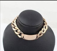 Nieuwe Collectie Chunky Wide Bold Gold Curberd Chain Link ID Hanger Verklaring Choker Ketting Freeshipping 0047