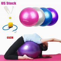 US-Aktien 65cm Yoga Ball Sport Fitness Ball Bola Pilates Gymnastik-Sport-Fitball Mit Pump Übung Pilates Workout Massage Ball FY8051
