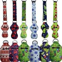 10PCS/pack Christmas Key Chain Holder Neoprene Lanyards Lipstick Case Bag Hand Sanitizer Bottle Cover Waterproof Key Ring Bag Pendant E10240