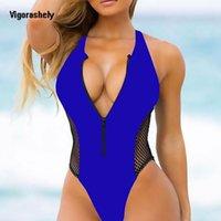 Vigorashely مثير قطعة واحدة النساء رفع ملابس السباحة شبكة سستة الصلبة المايوه الإناث الأحمر الأزرق monokini ملابس السباحة Y200824