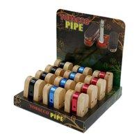Novo tubos de madeira dobrável semelhante como tabaco cigarro macaco tubo portátil vaporizer de madeira dobrável metal fumar