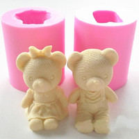 Cake Tools Cute Bear Boy Girl Silicone Soap Mold Fondant Decorating Sugarcraft Chocolate Gum Paste Candle Moulds1
