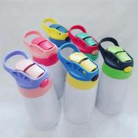Straw Kapak Taşınabilir Öğrenci İçme Tumbler Mug SEASHIPPING LJJP713 ile 12oz 350ml Sublime Sippy Kupası Paslanmaz Çelik Çocuk Su Şişesi