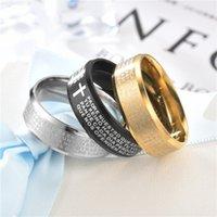 Cross Colors Schrifte Edelstahl Titan 3 Stahl Ring Lords Gebet Bibel Frau Mann Mode Ringe Ornamente 1 Zl K2
