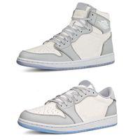 NUEVO 1 OG High Grey 2020 Hombres Zapatos de baloncesto para hombre Zapatillas de deporte de las mujeres Entrenadores de Humpman 1s en relieve en las cestas de la parte inferior del cristal superior