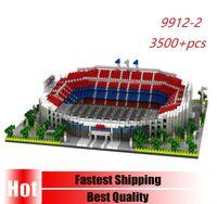 PZX 9912-2 3500pcs Architecture Spain Barcelona Football Club Camp Nou Stadium Diamond Building Blocks Toys Model For Children X0102