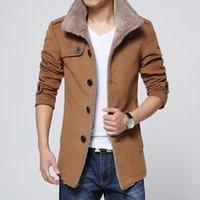Мужские траншеи Пальто мужчин Длинные шерсти без кепки карманные пальто теплые ветрозащитные куртки и тонкий подходит ветровка высокого качества плюс размер