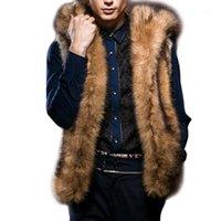 겨울 남성 따뜻한 럭셔리 모피 조끼 코트 민소매 후드 재킷 남성 솜털 가짜 모피 재킷 플러스 사이즈 1