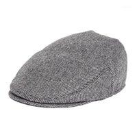 SBOY HATS FEINION EFVY CAP MEN Frauen 50% Wolle Tweed Flache Caps Heringbone Cabbies Glof Hut Bern Boet Boina 0661