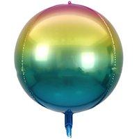 Büyük Boy 22 Inç Festivali Balon Degrade Renkler Alüminyum Film Kırışıklık Gökkuşağı Balonlar Parti Süslemeleri için 1 8JE E19
