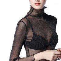 المرأة تي شيرت شفاف الياقة المدورة بلايز المرأة المتضخم الأسود انظر من خلال شبكة قميص طويل الأكمام الأعلى تنقية المتناثرة قمم chic1