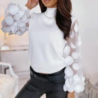 2020 Spring Long Sleeve Blouse Women Mesh Patchwork Blouse S...