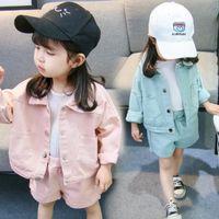 Осень девочек сплошной цвет джинсовый костюм женское младенца устанавливает детские шорты две части детская одежда дизайнерская одежда