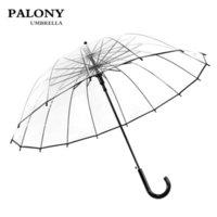 Palonia de alta calidad grande mango largo 16 costilla paraguas transparente macho mujer lluvia moda sólido automático creativo lluvioso claro 201111