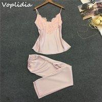 Women's Sleepwear Wholesale- Pyjamas Voplidia Femmes Pyjamas Set Top Pant Long Pant Faux Soie Dentelle V-Col V-Col Lingerie Sans Manches Lingerie1