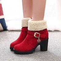 Çizmeler Okkdey Artı Boyutu Sonbahar Ve Kış kadın Kadife Pamuk Ayakkabı Kısa Tüp Sıcak Buzlu Süet Kalın Topuk Yüksek Heels1