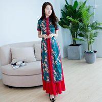 Etnik giyim 2 adet cheongsam elbise yaz kızlar ince geleneksel çin kıyafetleri için kadın uzun Qipao Q-161