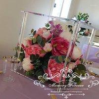 5 stücke Klarer Acryl Stand Hochzeitsdekoration Blumenständer Hintergrundanzeige Pot Kristall Mittelstück Rahmen dekorativer Vase1