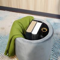 Wholesale Round Velvet Гостиная Мебельная Ткань с золотой металлической основой Pouffe Османская прочная и безопасная для хранения подставкой