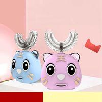 Type U Cartoon enfants Brosse à dents électrique Brosse à dents pour enfants 360 degrés dents automatique Sonic électrique Cleaner DDA658