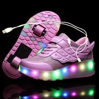 One wheel two wheels shoes, shiny gold and pink light led sh...