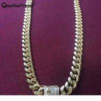 10mm 14mm Männer Kubanische Miami Link CZ Halskette Edelstahl Rhinestone Schloss Verschluss Euro aus Gold Silber Hip Hop Kette Halskette