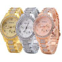 Yeni Lüks Markalar Cenevre Kadınlar Saatler Kristal Paslanmaz Çelik Kuvars İzle Lady Açık Spor Takvim Ile İzle