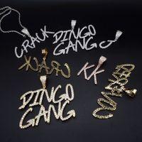 Lovers personnalisés Nom Glacé Twist lettres chaîne Pendentifs Colliers Charms hommes Zircon Hip Hop Bijoux Avec Twist cadeau de la chaîne 200928
