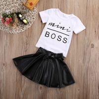 New Fashion Toddler Kids Girl Abbigliamento Set Summer Manica Corta Mini Boss T-shirt Tops + Gonna in pelle 2PCS Outfit Bambino Abito 152 Z2