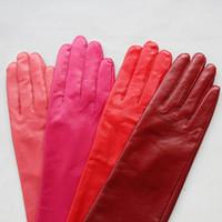 خمسة أصابع قفازات النساء جلد حقيقي طويل كامل الشتاء الدافئ الكوع في الهواء الطلق جلد الغنم روز القفازات الحمراء حزب النبيذ