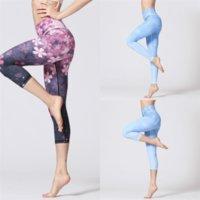 Wtrx kadın sıska yüksek bel spor capri baskılı ince yoga oryantal seksi cep yoga lacivert toggings pantolon uzun boylu kadın spor koşu