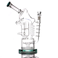 "Wasserhaare 12,5 ""Recycler DAB RIG-Doppelrohre Glasbongs Wasserleitungen Bubbler Big Bong"