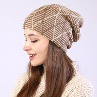 grille tricot d'hiver Bonnet chapeaux d'oreille à torsades Slouchy Calotte Bonnet pour les femmes Fashion et cadeau de sable
